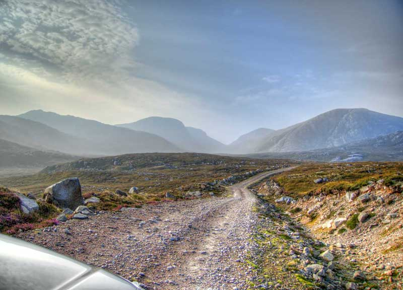 Taking a track into the hills on the Isle of Lewis