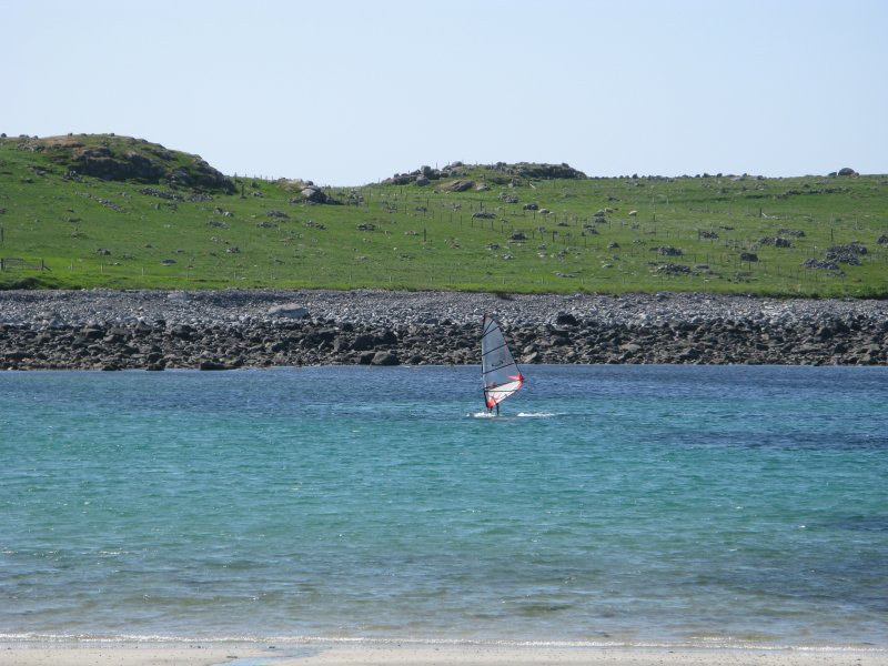 Windsurfing on Shawbost beach on the Isle of Lewis